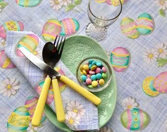 Spring Tablecloth & Napkins - picnic cloth - 100% Cotton - Item #T0125