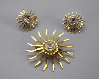 Mid Century Starburst Jewelry Set, Sarah Coventry Fascination Brooch and Earrings Set, Atomic Jewelry