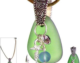 MERZIEs sea glass GREEN focal antique silver pewter bail Ships Anchor 6mm round charms bead pendant faux suede necklace - SHIPs from USA