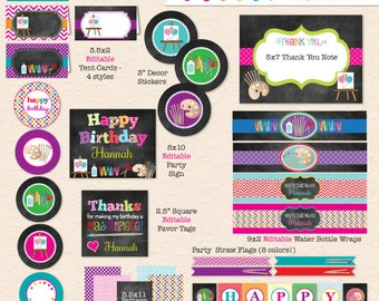 Arts & Crafts Birthday Party (Chalkboard Style) - DIY Printable Party Pack - INSTANT DOWNLOAD! - Kids Art Craft Printable Party