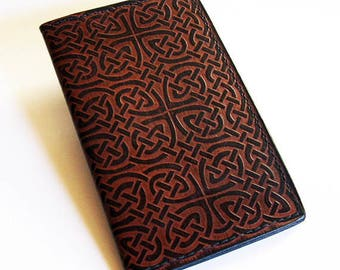 Leather Checkbook Cover with Celtic Rope/Knot Design - Check Book Holder