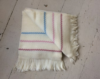Vintage FARIBO Washable Wool & Acrylic Blanket Afghan Throw Off White with Pastel Stripes New Old Stock with Tag