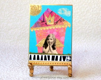ACEO - original collage art card, Little Pink Wonky House with vintage angel