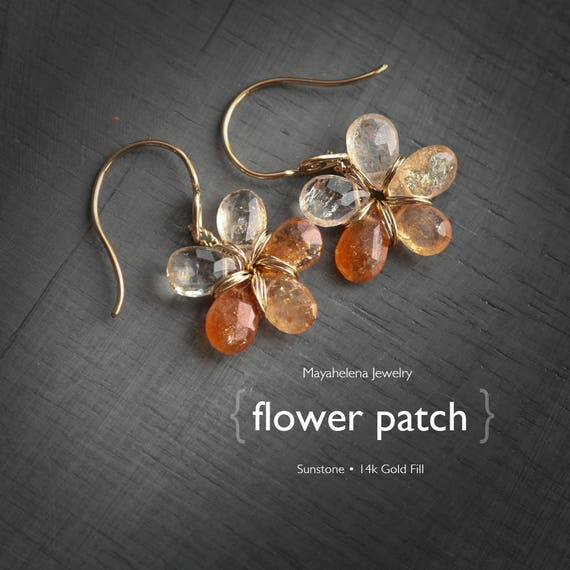 Flower Patch  - Shaded Sunstone Flower Dangle 14k Gold Fill Earrings