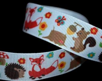 Woodland Animals Ribbon, Baby Shower Ribbon, Hedgehog Ribbon, Fox Grosgrain Ribbon, Squirrel Ribbon, Mushroom Ribbon, Forest Animal Ribbon