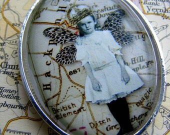 Captured fairy princess from Hackpen Hill - Collage pendant, sold with or without a sterling silver chain.