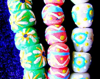 Beads,KROBO, Sand Cast , Glass, GHANA, Different, Necklace, Ethnic, Tribal, Large Hole