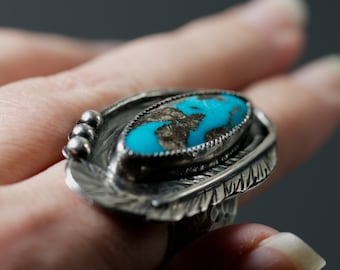 Blue Moon Turquoise feather ring wide band hammered texture handmade feather accent detail size 8.5 ooak handmade turquoise statement ring