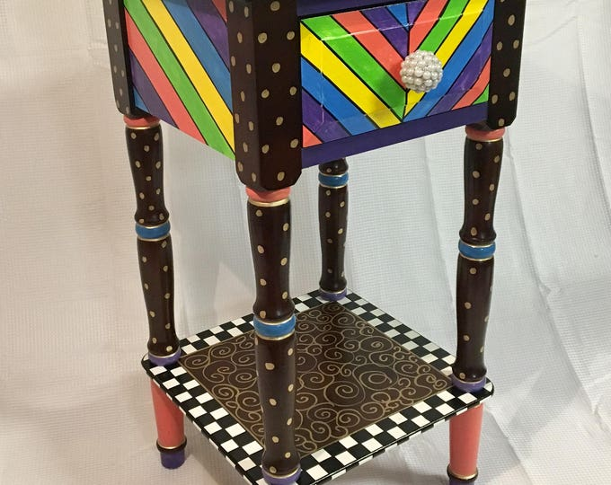 Whimsical Painted Furniture, Whimsical painted table // painted accent table // side table with drawer