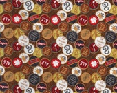 Brown Brewsky Beer Bottle Cap Print 100% Cotton Quilting Fabric