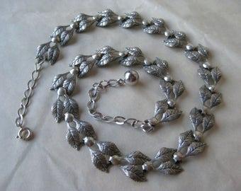 Leaf Sterling Link Necklace Vintage Jewelart Jewel Art Silver