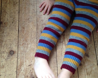 Custom Kid's Wool Pants 2T - Made to Order SPARROWS - Your choice of colour - Children's Leggings Longies - Handmade Warm Woolen Pants