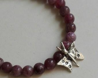 Pulsera mariposita con turmalina rosa/ Little butterfly bracelet with pink tourmaline