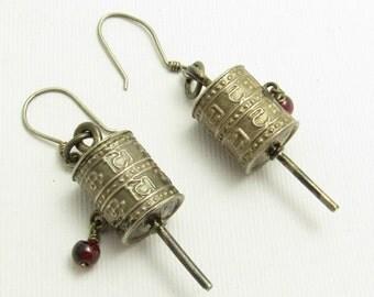Tibetan Sterling Prayer Wheel Earrings Vintage Sterling Jewelry E7653