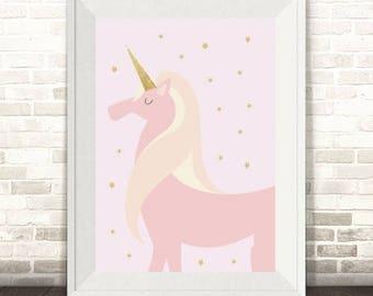 Unicorn Print, Pink Unicorn Print, Unicorn Grirls Nursery Print
