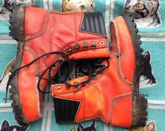 1960's Big Mac JC Penney neon orange hunting boots 7 1/2 D women 9 1/2- 10
