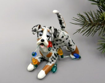 Catahoula Blue Leopard Dog Christmas Ornament Lights Porcelain
