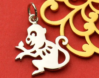The Monkey Necklace - Solid 925 Sterling Silver Chinese Zodiac Year of the Monkey Charm - Insurance Included