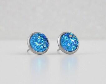 Cobalt Blue Druzy Crystal Earrings | ATL-E-193