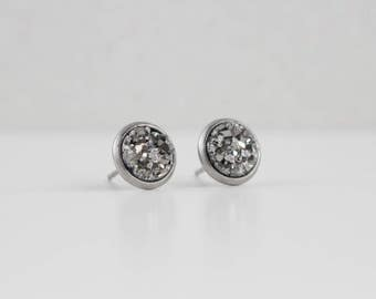 Dark Pewter Silver Druzy Crystal Earrings | ATL-E-152