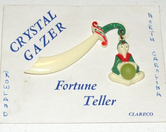 Vintage Crystal Gazer Fortune Teller Celluloid Pin Brooch with Glass Crystal Ball on Original Card NOS