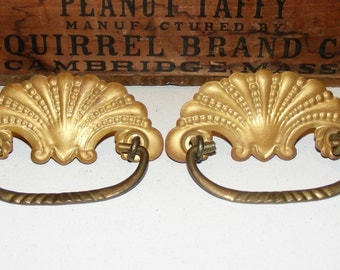 Antique Art Nouveau Scallop Shell Ornate Stamped Pressed Brass Drawer Pull Handle and Back Plate Set Lot of 2