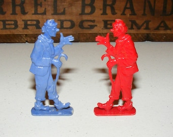 Vintage Plastic Red and Blue Circus Clown Stand Ups Cracker Jack lot of 2 Prize Premium