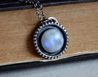 Rainbow Moonstone Amulet Necklace