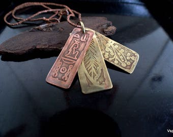 Symbolist necklace copper brass etched sustainable metals six sided pendant OOAK Ank ancient Egypt