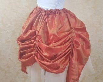 SALE BLACK FRIDAY Sale Orange Red Shot Mini Length Tie Bustle Skirt-One Size Fits All