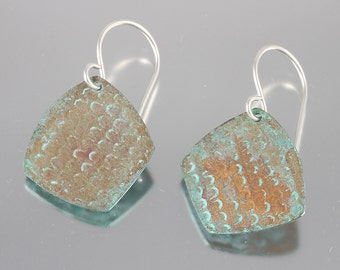 Rustic Fish Scale Textured Patina Dangles