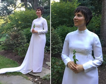 60s 70s Handmade Long Sleeve Wedding Dress with Empire Waist