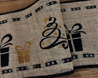 Holiday Embroidered Burlap Table Runner . . . Elegant Design . . . Ribbon Embellished  . . . Decorate your Table with a Touch of Country