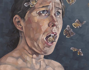 "Contemporary Figurative Original Oil Painting, Nude Portrait Painting with Moths, Surreal Oil Painting - ""What Words are These?"""