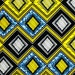 African Fabric 1/2 Yard Cotton Wax Print BLUE YELLOW BLACK Abstract Geometric