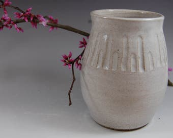 White Pottery Vase- Handmade ,Carved ,flowers,home deco