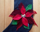 Christmas stocking - Personalized - poinsettia flower- hand felted - family gifts - family traditions - contemporary designs