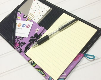 Purple notebook holder, Shopping organizer, Coupon organizer, Purse organizer, purple wallet, Mini shopper, Purple list taker, Floral book