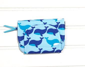 Whale Wallet, Boys wallet, Blue kids wallet, Children's wallet, Mini wallet, money organizer, card wallet, Easter basket gift, Gift for boys