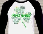 SALE - St. Patricks Day St. Patrick's Day shamrock teacher name grade personalized raglan shirt for teachers SPDTSR