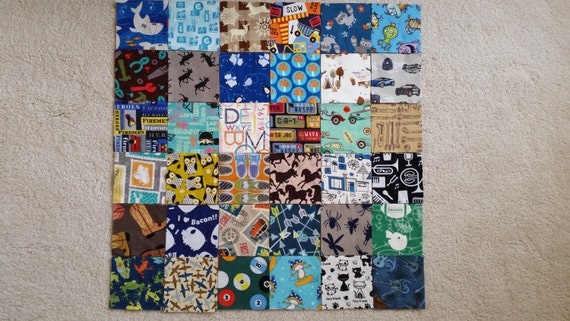 I Spy Quilt AND Matching Game Quilt Kits For Toddler BOYS, 72 Flannel 5 inch squares, Kit 7