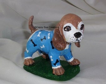 Beagle in Pajamas slumber party figurine with dog bone pattern