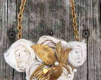 Creamy White Shabby Neutral Vintage Upcycled Rockin' Roses Necklace