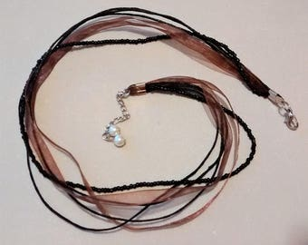 MM-113 Ribbon, Cord, and Bead Necklace with Pearl Extension
