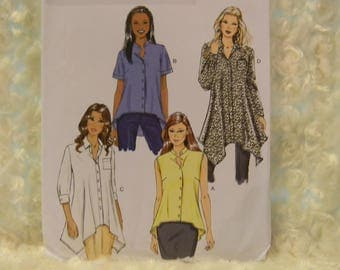Uncut Butterick Pattern 5786 Misses' Shirts with Asymmetrical Hemline