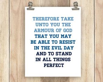 Catholic Christian Print Scripture Quote Printable 8x10 Ephesians Armor of God Wall Art Home Decor