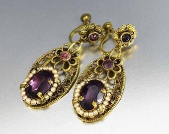 Czech Glass Art Deco Earrings, Dangle Amethyst Earrings, Pearl Earrings, Rhinestone Earrings, Great Gatsby
