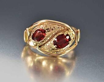 SOLD Vintage Garnet Rose Gold Snake Ring, Garnet Ring, Ouroboros Ring, Antique Gold Ring, Serpent Ring, Statement Ring, Love Eternity Ring