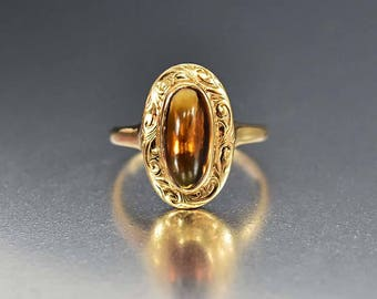 Antique Golden Citrine Ring, Victorian 14K Gold Ring, Engraved Ring, Oval Marquise Ring, Dainty Pinky Stacking Ring Fine Birthstone Jewelry