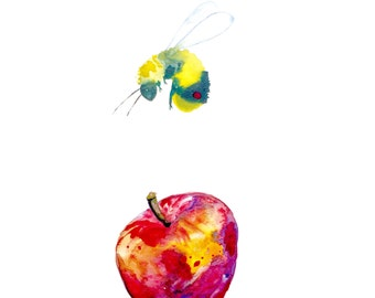 "Bee Watercolor Original Painting, Bumblebee and Apple 11""x15"""